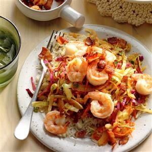 Shrimp with Warm German-Style Coleslaw  Recipe