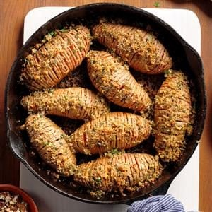 Skillet Hasselback Sweet Potatoes Recipe