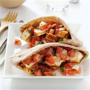 Spicy Chicken Tomato Pitas Recipe