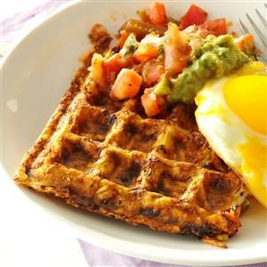 Spicy Hash Brown Waffles with Fried Eggs Recipe