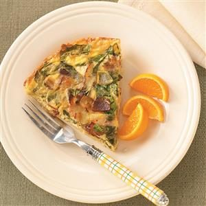 Spinach & Bacon Hash Brown Quiche Recipe