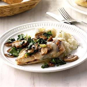 Spinach and Mushroom Smothered  Chicken Recipe