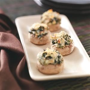 Spinach-Cheese Mushroom Caps Recipe