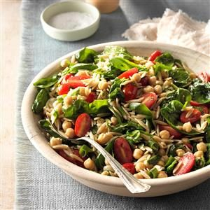 Spinach-Orzo Salad with Chickpeas Recipe
