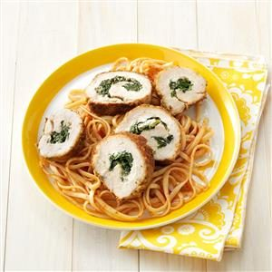 Spinach-Stuffed Chicken with Linguine Recipe