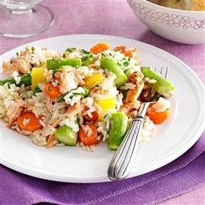 Spring Pilaf with Salmon & Asparagus