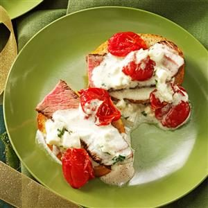 Steak Crostini with Roasted Tomatoes Recipe