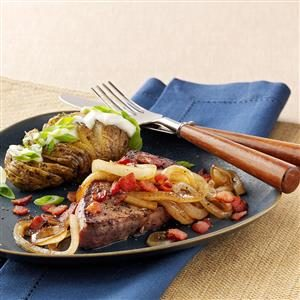 Steaks with Molasses-Glazed Onions Recipe