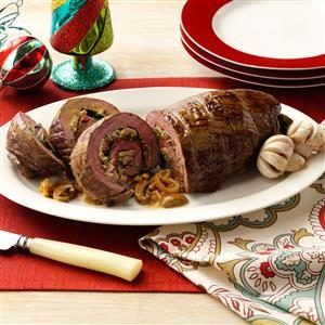 Stuffed Flank Steak with Mushroom Sherry Cream Recipe