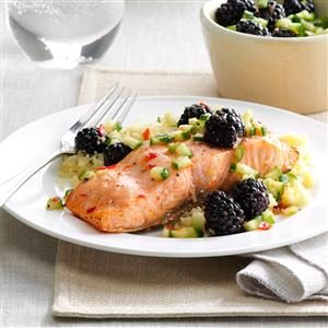Sweet-Chili Salmon with Blackberries Recipe
