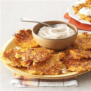 Sweet Potato Pancakes with Cinnamon Cream