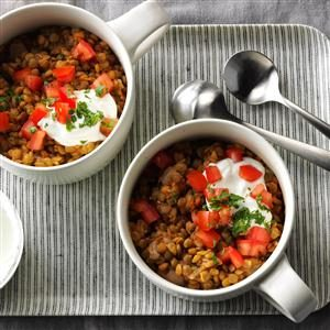 Tomato-Garlic Lentil Bowls Recipe