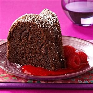 Triple-Chocolate Cake with Raspberry Sauce Recipe