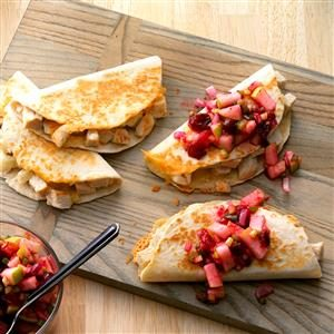 Turkey Quesadillas with Cranberry Salsa Recipe photo by Taste of Home