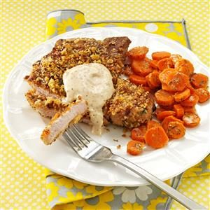 Walnut-Breaded Chops with Honey Mustard Sauce Recipe