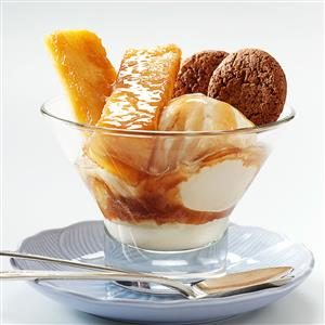 Warm Pineapple Sundaes with Rum Sauce Recipe