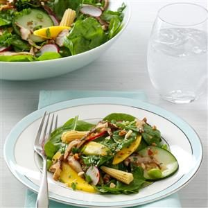 Wilted Shiitake Spinach Salad Recipe