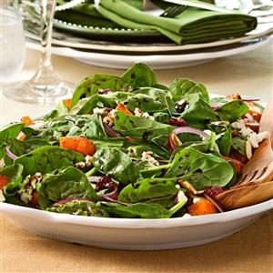 Wilted Spinach Salad with Butternut Squash