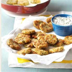 Zucchini Patties with Dill Dip Recipe