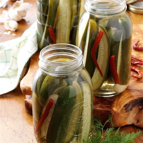 Classic dill pickles with hot chilies and garlic.