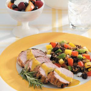 Honey-Herb Pork with Wild Rice Pepper Salad