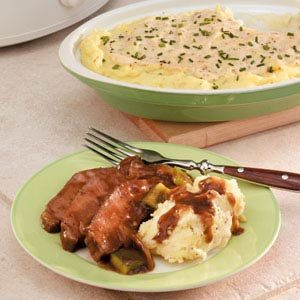 Slow-Cooked Sirloin with Horseradish Mashed Potatoes