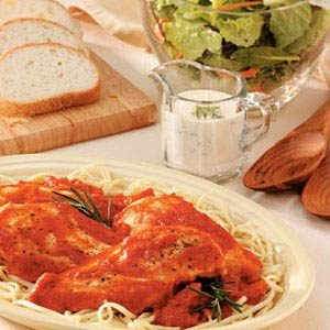 Chicken with Garlic-Tomato Sauce with Creamy Dill Salad Dressing