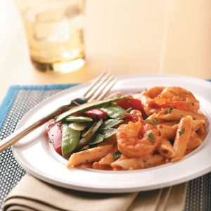 Creamy Tomato Shrimp with Penne, Pea Pods and Peppers