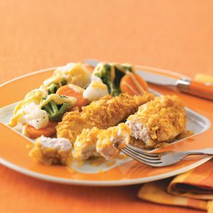 Easy Chicken Strips & Vegetables with Cheese Sauce