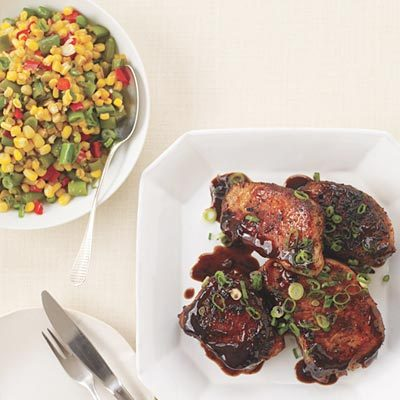 Image of Asian-Style Barbecue Pork Chops And Succotash, Rachael Ray Magazine