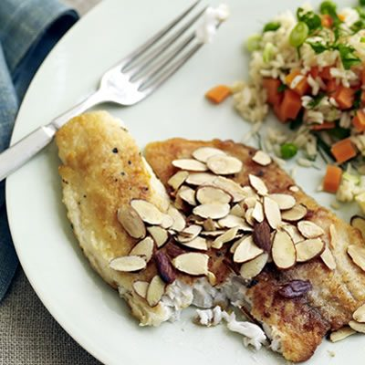 Image of Almond Tilapia And Peas-and-Carrots Rice, Rachael Ray Magazine