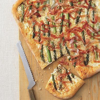 Image of Asparagus, Cheese And Prosciutto Pizza, Rachael Ray Magazine