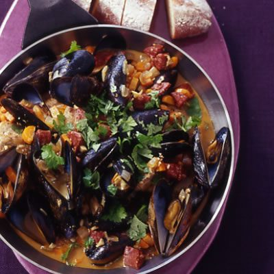 Image of Alentejo Pork With Chorizo And Mussels, Rachael Ray Magazine