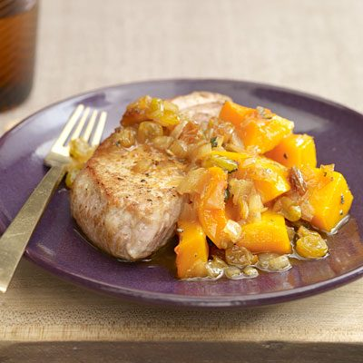 Image of Apple Juice Pork With Squash And Golden Raisins, Rachael Ray Magazine