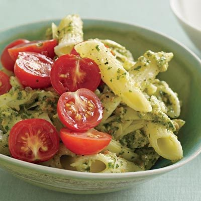 Image of Almond-Herb Pesto Pasta With Artichoke And Tomato, Rachael Ray Magazine
