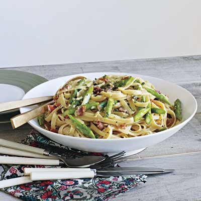 Image of Asparagus, Ham And Egg Pasta, Rachael Ray Magazine