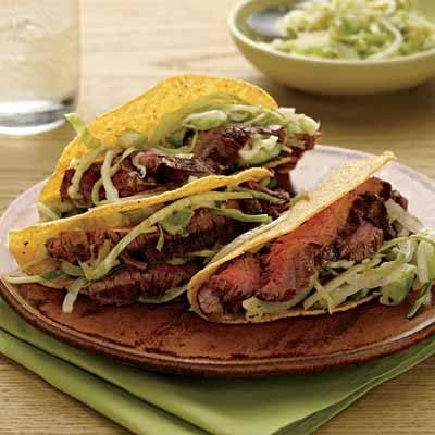 Image of Avocado Salad-Topped Steak Tacos, Rachael Ray Magazine