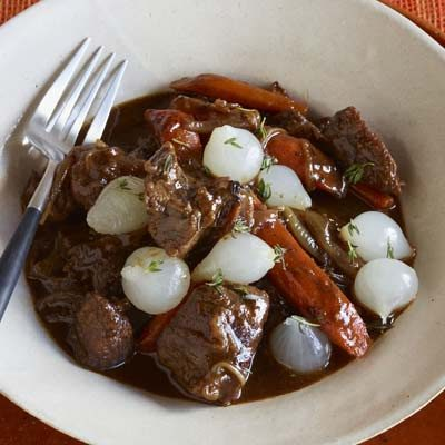 Braised Beef with Carrots and Pickled Onions
