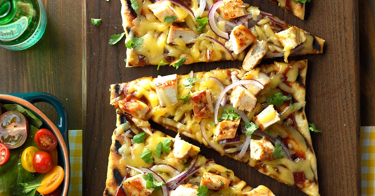 Pool Party Appetizers Ideas cheese island for tropical themed party Barbecued Chicken Pizzas